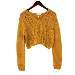 Tobi chunky knitted cropped sweater mustard yellow